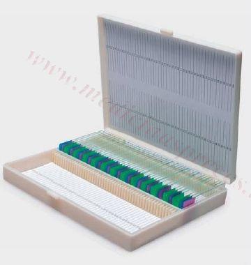 Priekšmetstiklu arhīvs-kastīte (plastmasa), 100 stikliem.