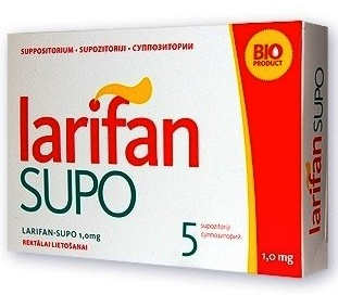 LARIFAN SUPO supozitoriji 1,5 mg. Iepakojumā 5 gab.