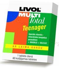 LIVOL Multi Total Teenager vitamīni, 60 košļājamas tabletes.