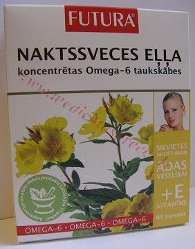 FUTURA Naktssveces eļļa+ E vitamīns, 60 kapsulas.