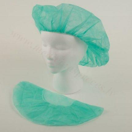 Cepure beretes tipa, zaļa, nesterila, Ø 53 cm. Iepakojumā 100 gab.